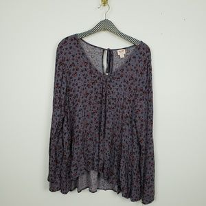 Mossimo Floral Boho blouse with bell sleeves NWT